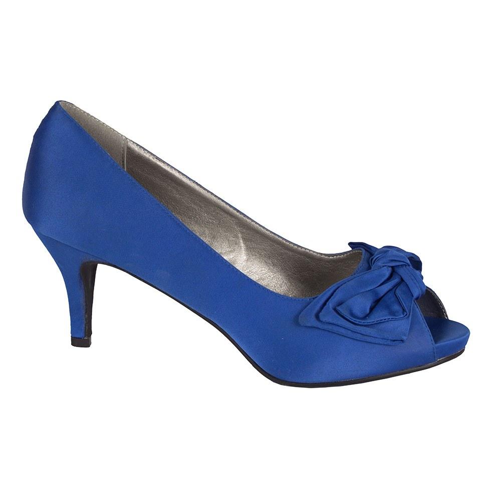 Pantofi de dama albastri cu varf decupat A2191-B-O