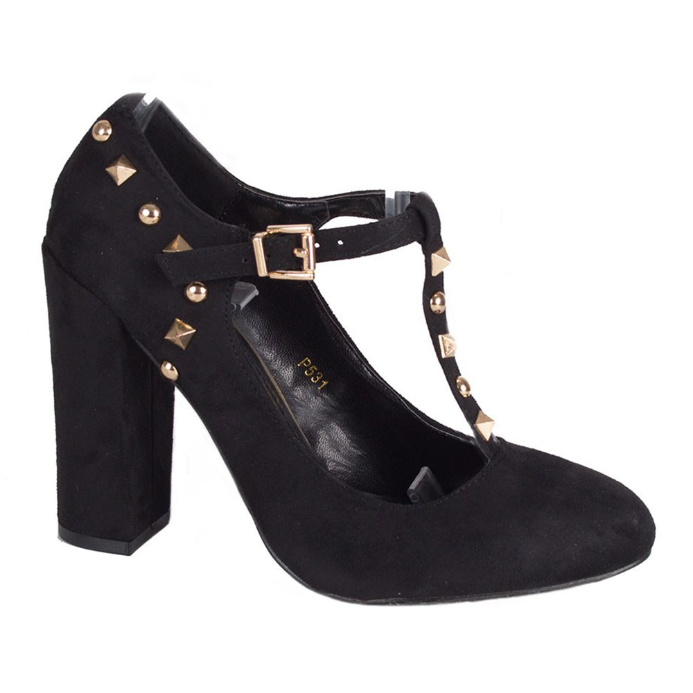 Pantofi dama negri cu toc gros P531-N
