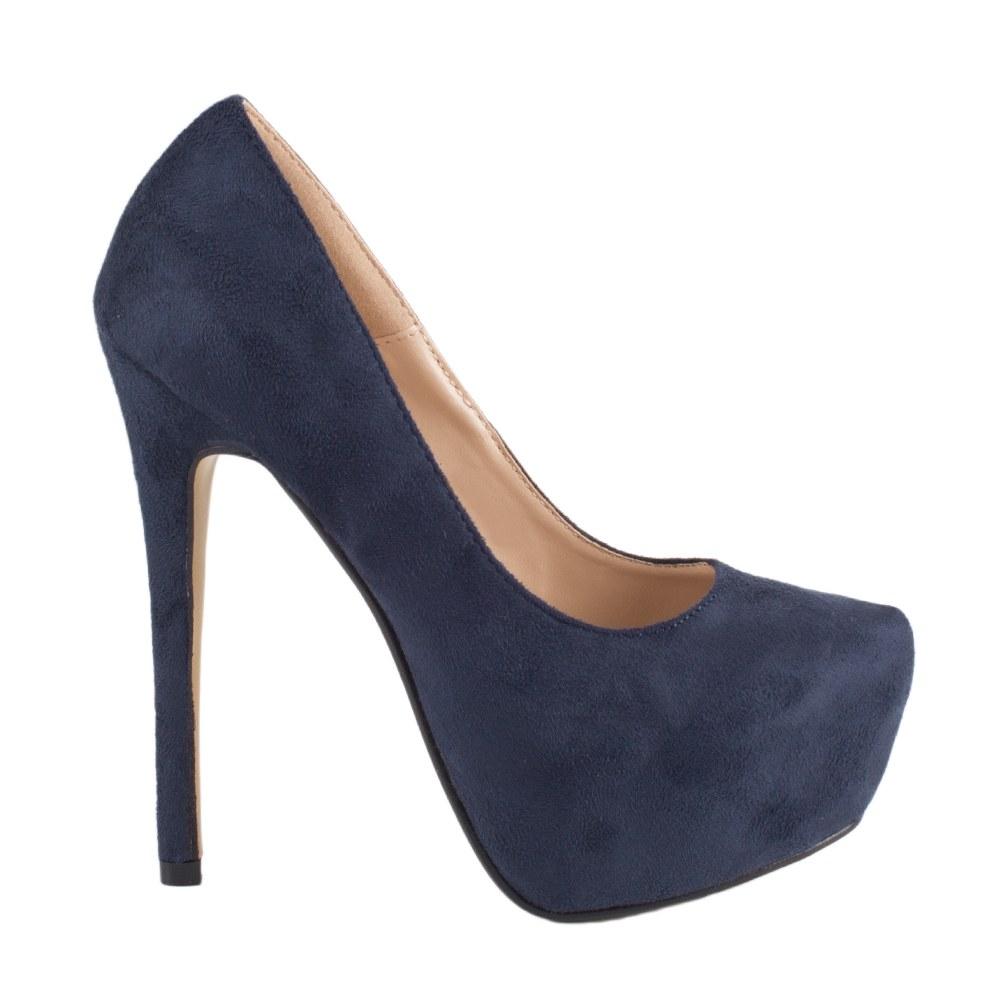 Pantofi de dama cu platforma EK-103-2-BLUE