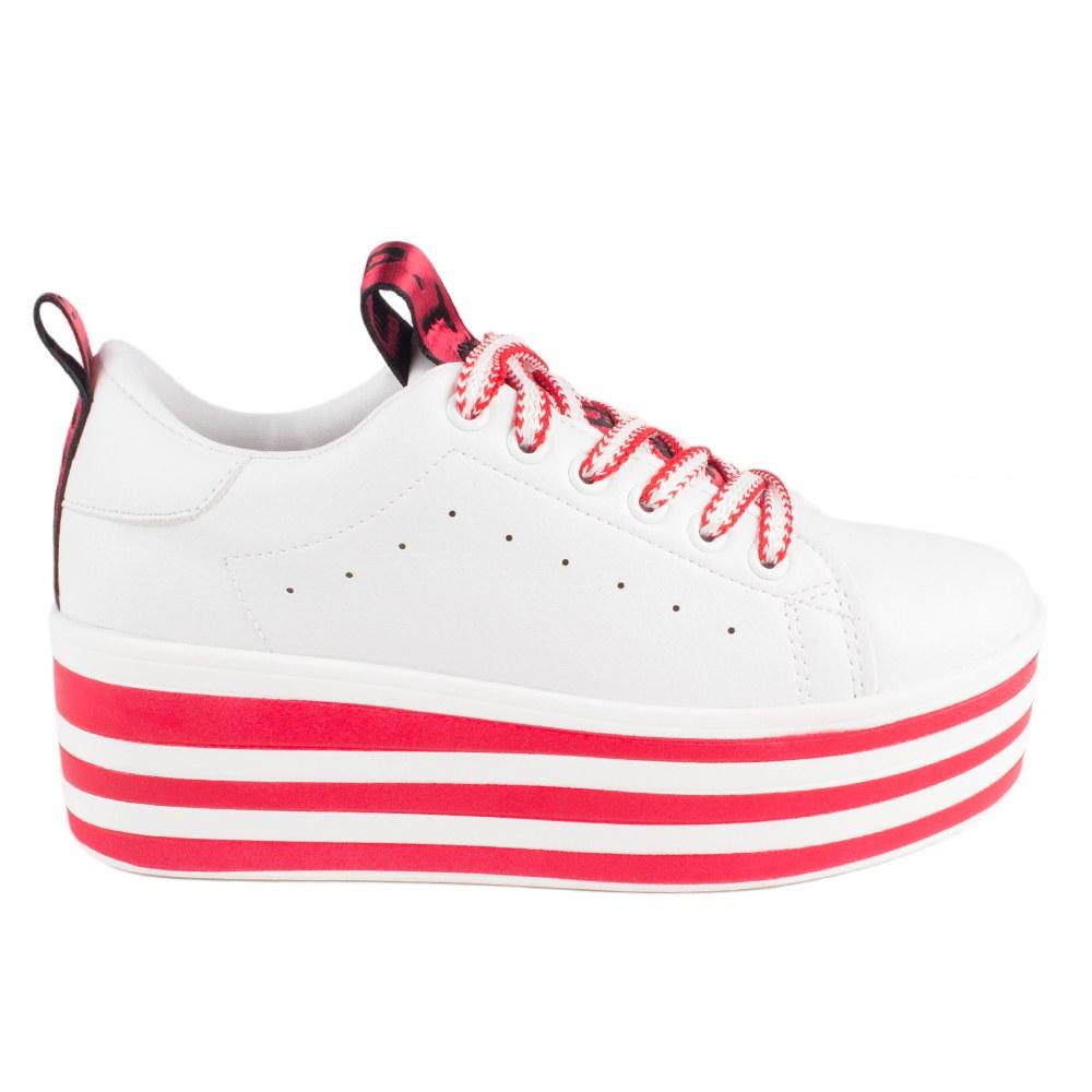 Sneakers dama cu platforma AB-519-WHITE