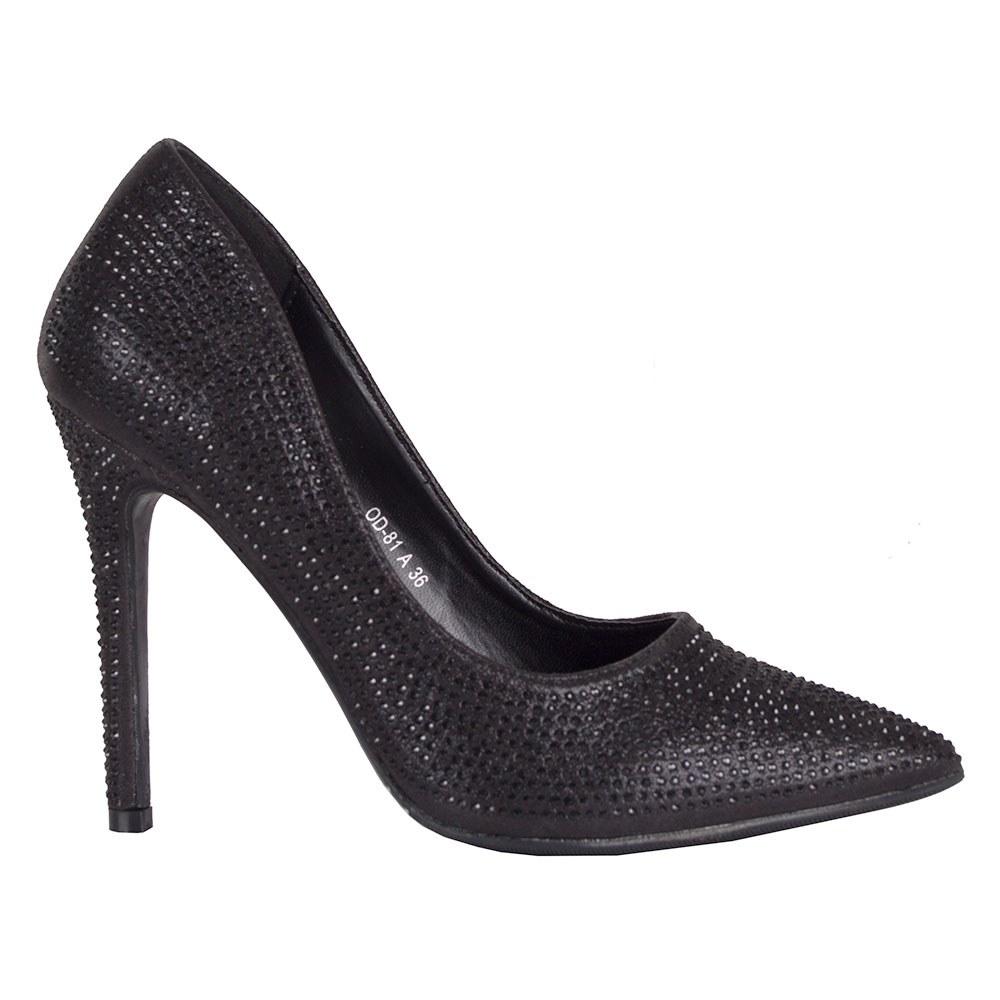 Pantofi de dama accesorizati cu strasuri negre OD-81-N