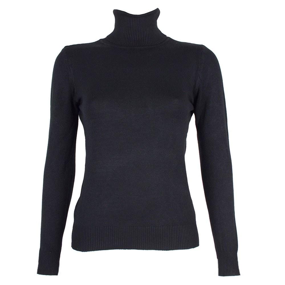 Pulover dama negru cu guler inalt 3105-N