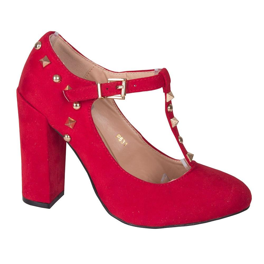 Pantofi dama rosii cu toc si tinte aurii P531-R