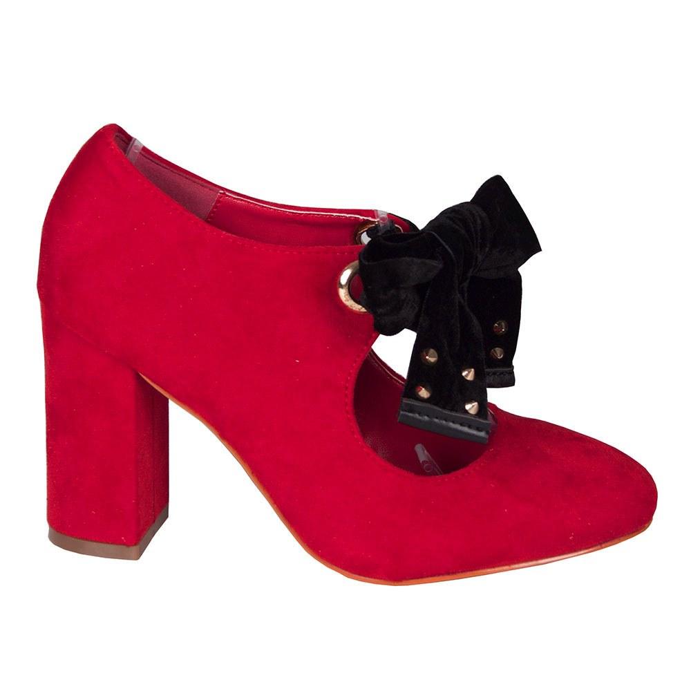 Pantofi dama rosii cu funda neagra P539-R