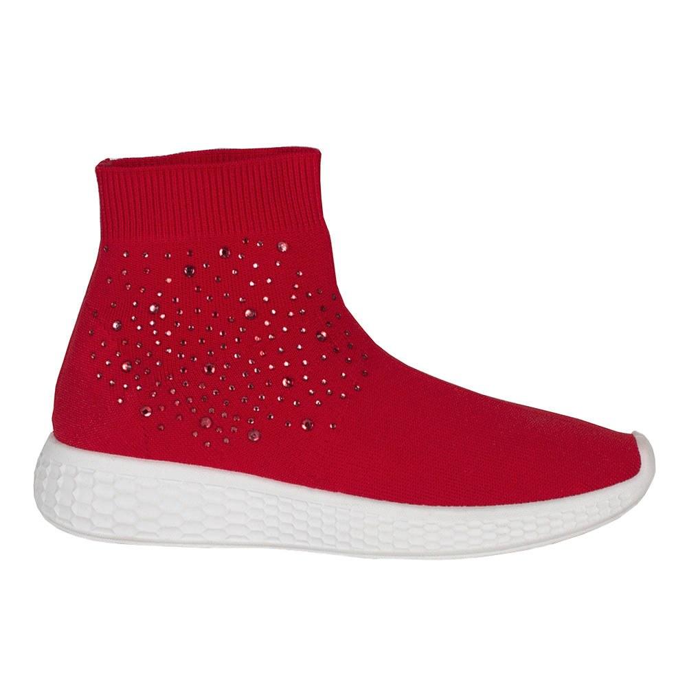 Sneakers dama rosii din material elastic BM-848-ROSU
