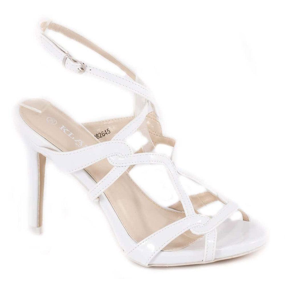 Sandale dama albe cu toc 82645A
