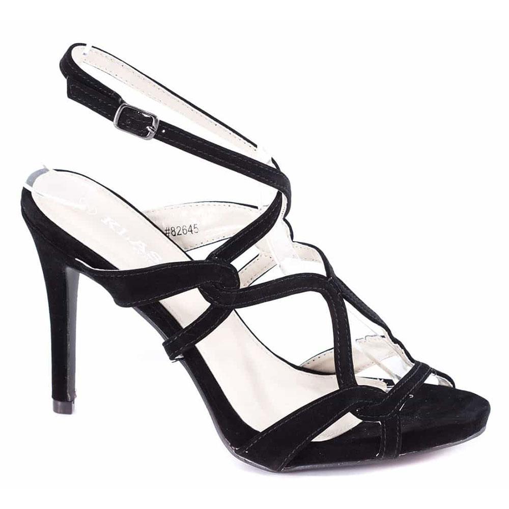 Sandale dama negre cu toc 82645-N-SS