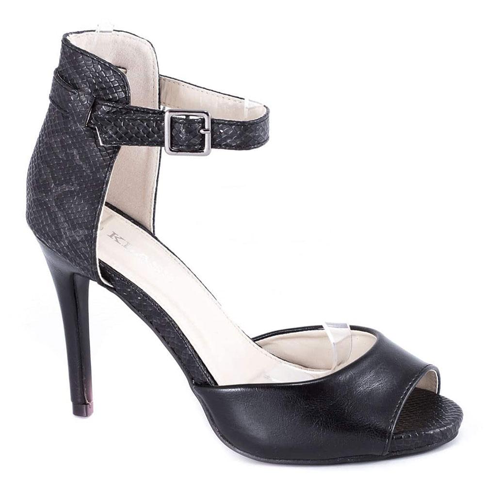 Sandale negre cu toc 82616B-P-SK
