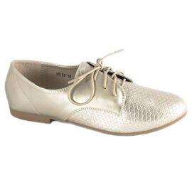 Pantofi gold cu siret HS30G