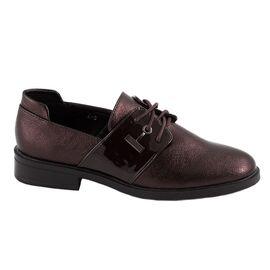 Pantofi de dama comozi cu siret L-5-WINE, Marime: 39, imagine
