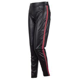 Pantaloni dama negri din vinil cu vipusca PL-302-N