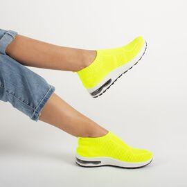 Sneakers dama din material elastic MM-45-FLUORESCENT YELLOW, Marime: 40, imagine