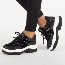 Sneakers dama cu platforma negri E3260-N, Marime: 37, imagine