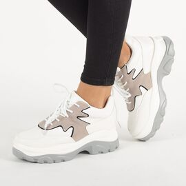 Sneakers dama casual albi E3260-G, Marime: 38, imagine