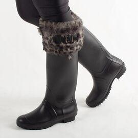 Cizme de dama negre, cu blanita, din cauciuc pentru ploaie H07-NOIR, Marime: 40, imagine