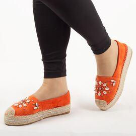 Espadrile de dama, portocalii, cu talpa joasa, comoda 00105-D.ORANGE, Marime: 36, imagine