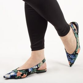 Balerini de dama, model floral, cu talpa joasa 1JB-19181-BLACK, Marime: 36, imagine