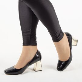 Pantofi de dama, lacuiti, cu toc gros si comod ZH17-02-BLACK, Marime: 35, imagine