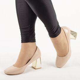 Pantofi de dama, lacuiti, cu toc gros si comod ZH17-02-BEIGE, Marime: 35, imagine