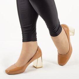 Pantofi de dama, lacuiti, cu toc gros si comod ZH17-02-CAMEL, Marime: 35, imagine