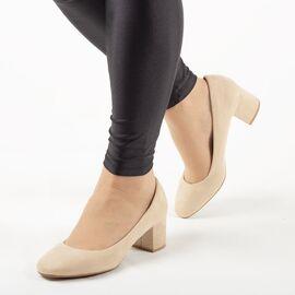 Pantofi de dama, bej cu toc mediu si gros A1113-APRICOT, Marime: 36, imagine