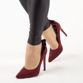 Pantofi de dama, bordo, eleganti cu toc inalt JM8128Y-BURDEO, Marime: 35, imagine