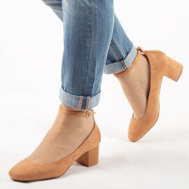 Pantofi de dama, camel cu toc mediu si gros A1117-CAMEL, Marime: 36, imagine