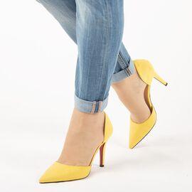 Pantofi de dama, decupati, cu toc inalt H337-YELLOW, Marime: 36, imagine