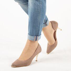 Pantofi de dama, decupati, cu toc mediu H135-KHAKI, Marime: 35, imagine