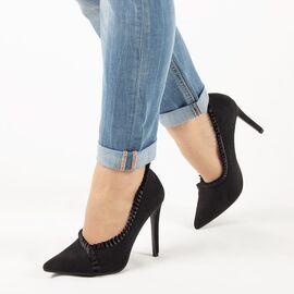 Pantofi de dama, negri, eleganti, cu toc inalt GH138-BLACK, Marime: 35*, imagine