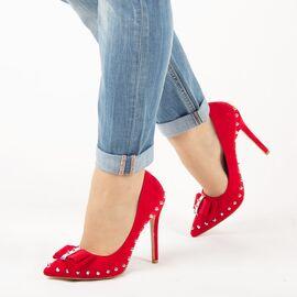 Pantofi dama, rosii cu toc subtire si tinte argintii JH17-02-ROJO, Marime: 35, imagine