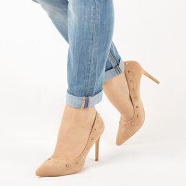 Pantofi de dama, camel, stiletto cu tinte JM2603F-CAMEL, Marime: 35*, imagine