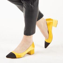 Pantofi de dama, galbeni, satinati, cu toc mic L88-161A-YELLOW, Marime: 35*, imagine