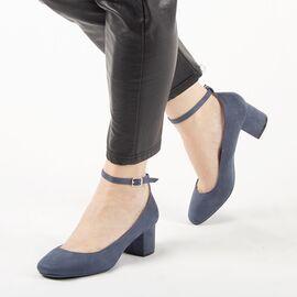 Pantofi de dama, albastri, cu toc mediu si gros A1117-BLUE, Marime: 36*, imagine