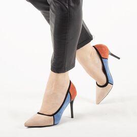 Pantofi de dama, multicolori, cu toc inalt, stiletto H369-BEIGE, Marime: 35*, imagine