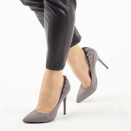 Pantofi de dama, gri, eleganti cu toc inalt L88-179-GREY, Marime: 35*, imagine