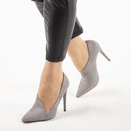 Pantofi de dama, gri, cu toc subtire si inalt F65-GREY, Marime: 36, imagine