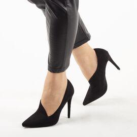 Pantofi de dama, negri, cu toc subtire si inalt F65-BLACK, Marime: 36, imagine