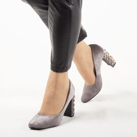 Pantofi de dama, gri, cu toc gros, accesorizat cu pietre si tinte OM-159-GREY, Marime: 35, imagine