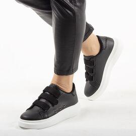 Pantofi de dama, sport - casual, cu arici AB112-BLACK, Marime: 36, imagine