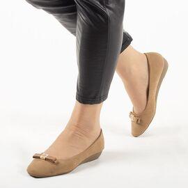 Pantofi de dama, camel, cu talpa joasa si comoda E1623-23-LIGHT-TAN, Marime: 41*, imagine