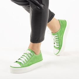 Tenisi dama, din denim verde cu siret X-112-GREEN, Marime: 37, imagine