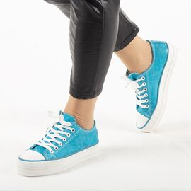 ​Tenisi dama, din denim bleu cu siret X-112-MONTH-BLUE, Marime: 37, imagine
