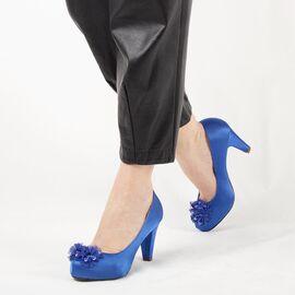 Pantofi de dama albastri cu accesorii flori A3357-ROYALBLUE, Marime: 37, imagine