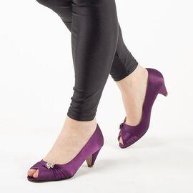 Pantofi de dama mov cu toc mic A2070-PURPLE, Marime: 40, imagine