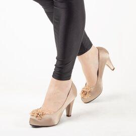 Pantofi de dama bej cu accesorii flori A3357-BEIGE, Marime: 41, imagine