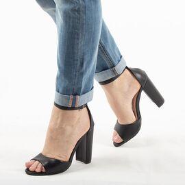 Sandale dama, negre, cu toc gros si inalt 369-31-BLACK, Marime: 37, imagine