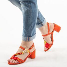 Sandale dama, portocalii, toc mediu, comod OM5381-3-ORANGE, Marime: 36, imagine
