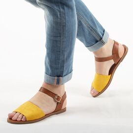 Sandale de dama, galbene, talpa joasa si comoda 880-36-YELLOW, Marime: 37, imagine