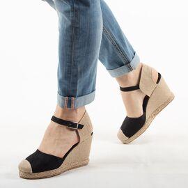 Sandale de dama, negre, cu talpa ortopedica, comode K086-NEGRU, Marime: 36, imagine